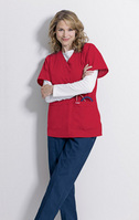 Scrub V Neck Tunic, Red