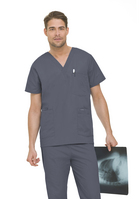Landau Mens 5 Pocket Scrub Top.  Salon & Spa (Regular Length)