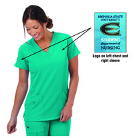 Ladies V Neck Scrub Top with Logos