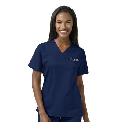 WonderWink Collegiate Womens Vneck Scrub Top 101UCONN1