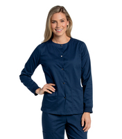 Landau All Day Womens Snap Front Warm Up Scrub Jacket (Regular Length)