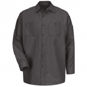 Automotive Charcoal Regular Long Sleeve Shop Shirt
