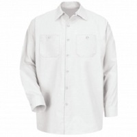HVAC White Regular Long Sleeve Shop Shirt