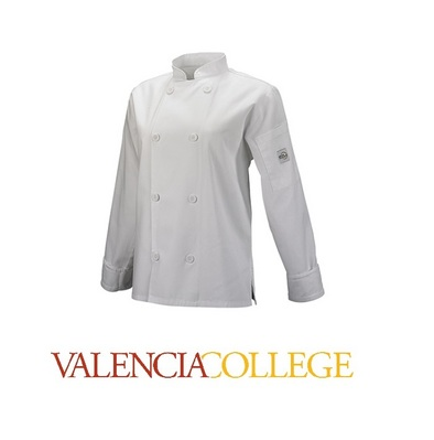 Womens Cook Jacket, White  Traditional Buttons