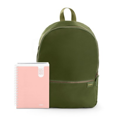Poppin Planner and Backpack Set, Blush  Olive