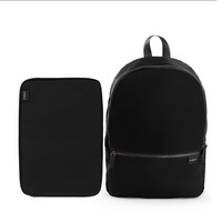 Poppin Backpack and Laptop Sleeve Set, Black