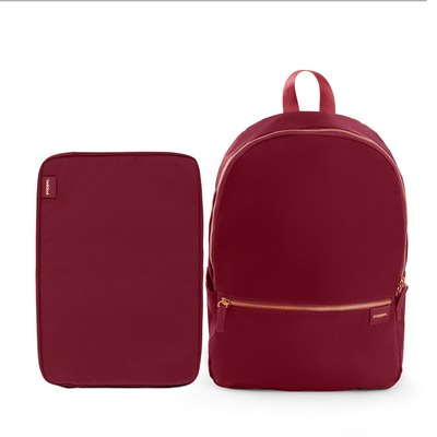 Poppin Backpack and Laptop Sleeve Set, Wine