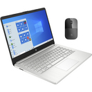 HP 14 Silver Laptop and Wireless Mouse Bundle