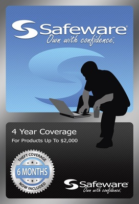 Safeware product protection plan, 4 year coverage (for products up to $2,000)