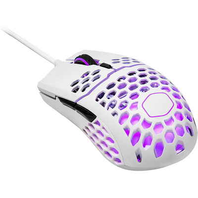 Cooler Master MM711 Glossy White Gaming Mouse with Lightweight Honeycomb Shell