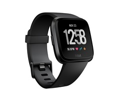 Fitbit Versa Watch Black  Black Aluminum
