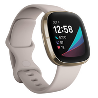 Fitbit Sense Health and Fitness Tracker in Lunar White and Soft Gold