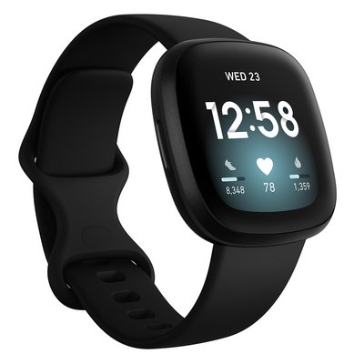 Fitbit Versa 3 Health and Fitness Watch  GPS in Carbon and Black