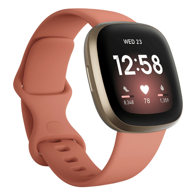Fitbit Versa 3 Health and Fitness Watch  GPS in Pink Clay and Soft Gold