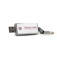 Texas A&M University Custom Logo USB Drive Keychain 32GB Silver