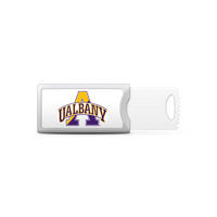 University at Albany Custom Logo USB Drive Push 32GB Silver