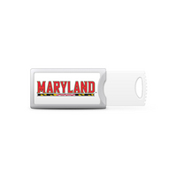 University of Maryland Custom Logo USB Drive Push 32GB Silver
