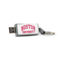 Boston University Custom Logo USB Drive Keychain 32GB Silver