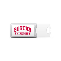 Boston University Custom Logo USB Drive Push 32GB Silver