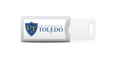 University of Toledo Custom Logo USB Drive Push 16GB Silver