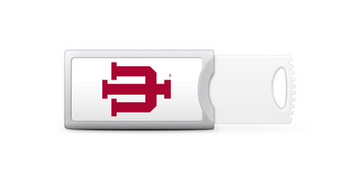 Indiana University Custom Logo USB Drive Push 16GB Silver