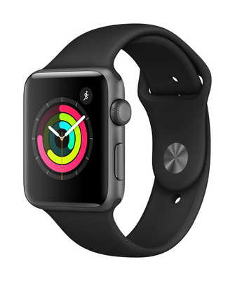 Apple Watch Series 3 GPS, 42mm Space Gray Aluminum Case with Sport Band