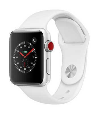 Apple Watch Series 3 GPS  Cellular, 38mm Silver Aluminum Case with Sport Band
