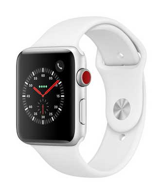 Apple Watch Series 3 GPS  Cellular, 42mm Silver Aluminum Case with Sport Band