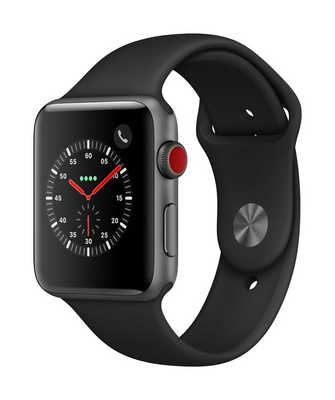 Apple Watch Series 3 GPS  Cellular, 42mm Space Gray Aluminum Case with Sport Band