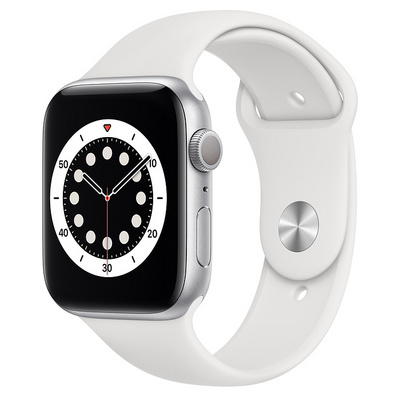 Apple Watch Series 6 GPS, 44mm Silver Aluminum Case with White Sport Band  Regular