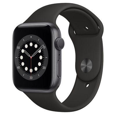Apple Watch Series 6 GPS, 44mm Space Gray Aluminum Case with Black Sport Band  Regular