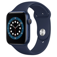 Apple Watch Series 6 GPS, 44mm Blue Aluminum Case with Deep Navy Sport Band  Regular