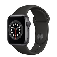 Apple Watch Series 6 GPS, 40mm Space Gray Aluminum Case with Black Sport Band  Regular
