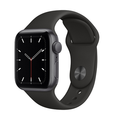 Apple Watch SE GPS, 40mm Space Gray Aluminum Case with Black Sport Band  Regular