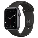 Apple Watch SE GPS, 44mm Space Gray Aluminum Case with Black Sport Band  Regular