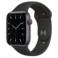 Apple Watch SE GPS  Cellular, 44mm Space Gray Aluminum Case with Black Sport Band  Regular