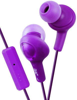 JVC Gumy Plus in Ear Headphones with Remote and Mic in Violet