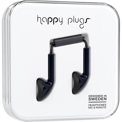 Happy Plugs Earbuds with Mic, Black