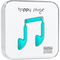 Happy Plugs Earbuds with mic, Turquoise