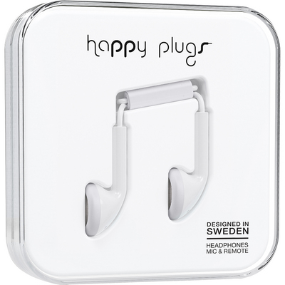 Happy Plugs Earbuds with Mic, White