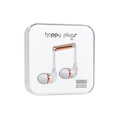 Happy Plugs InEar Earbuds with Mic, White Marble Rose