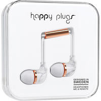 Happy Plugs 7782 InEar Earbuds, wMic White Marble Rose