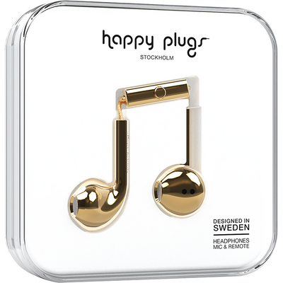 Happy Plugs Earbuds Plus with Mic, Gold