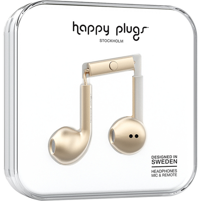 Happy Plugs Earbuds Plus with mic, Matte Gold