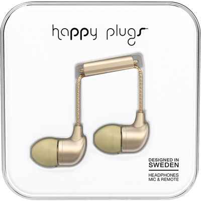 Happy Plugs InEar Earbuds with Mic, Matte Gold