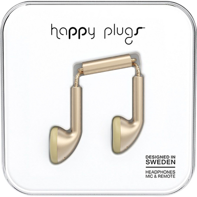 Happy Plugs Earbuds with Mic, Matte Gold