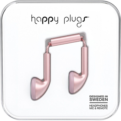Happy Plugs Earbuds with Mic, Pink Gold