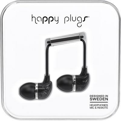 Happy Plugs InEar Earbuds with Mic, Black Marble