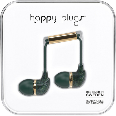 Happy Plugs InEar Earbuds with Mic,Green Marble