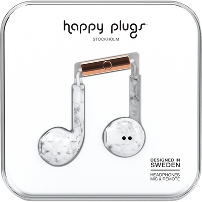 Happy Plugs Earbuds Plus with Mic, White Marble